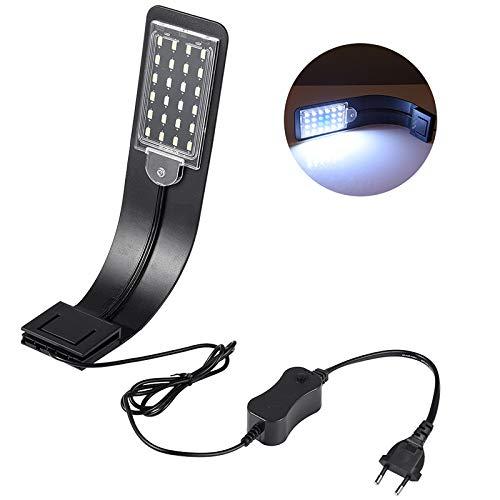 LEDGLE 10W LED Aquarium Licht Beleuchtung Kompakte Aquarienleuchte, IPX7 Wasserdicht,Wasserpflanzenbeleuchtung mit Leistungsstarkem Clip, Weiß und Blaulicht (Schwarz)