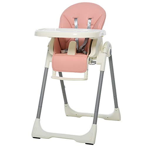 HOMCOM Foldable Baby High Chair Convertible Feeding Chair Height Adjustable...