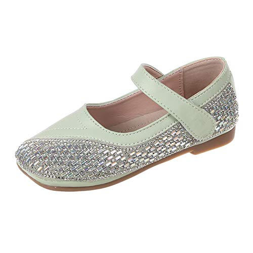 Zapatos de Princesa para niños Ligeros Transpirables Suela Suave Antideslizante Zapatos Planos de Cuero con Diamantes de imitación Zapatos de Vestir Mary Jane
