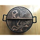 岩鋳 南部鉄器 中華鍋 深型(大)36cm 日本製 木蓋付セット