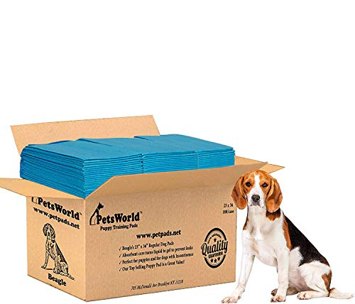 PETSWORLD Dog Training Puppy Pads 23x36, Case of 100 Dog Pee Pads, Basics Doggy Pee Pad, Good for Dog Food Wet, Large Dog Bed, Diaper Changing Pad, Cat Beds Clearance Prime