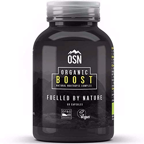 Organic Boost - 100% Natural Nootropic | Cognitive Enhancer | Boost Energy, Focus and Mental Performance | Certified Organic & Vegan | Natural Herbs to Increase Memory and Clarity | 60 Capsules