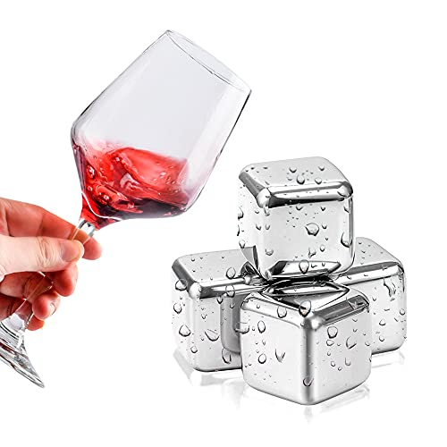 Piedras de cubitos de hielo para whisky, 6 cubos de hielo reutilizables de acero inoxidable, para accesorios de bar,whisky Vodka y todas las bebidas,con caja de almacenamiento y clip de hielo (6PCS)