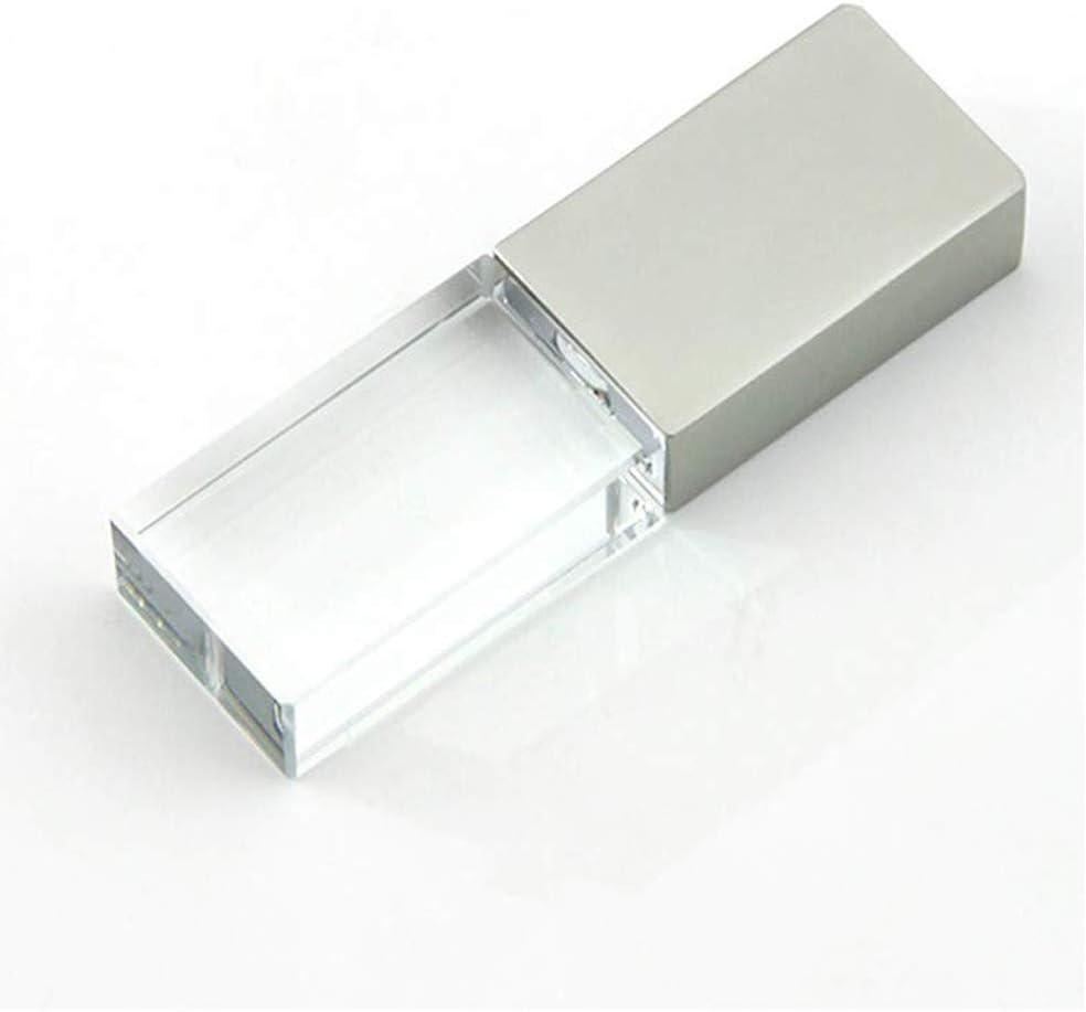 8GB USB 2.0 Flash Drive Crystal Blue LED Light Transparent Glass Pen Drive Cute Mini Memory Stick Thumb Drives Pendrive Gift