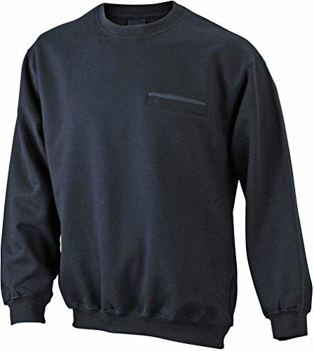 Men's Round Sweat Pocket/James & Nicholson (JN 924) S M L XL XXL 3XL, black, M