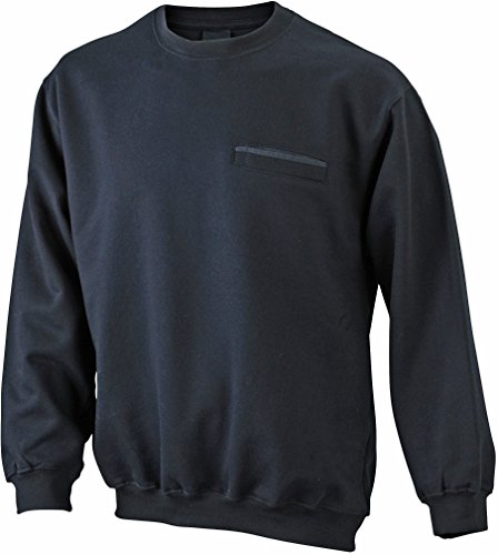 Men's Round Sweat Pocket/James & Nicholson (JN 924) S M L XL XXL 3XL, black, L