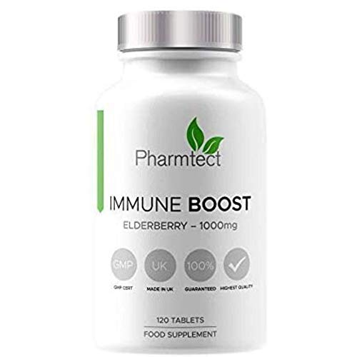 Pharmtect Immune Boost Elderberry Tablets 1000mg - Highest Quality Immune Boosting Supplement - Daily Wellness - Natural Vitamin C & Elderberry Extract - Made in The UK - 120 Vegan Tablets