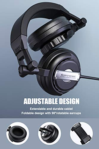 Over Ear Headphones, Sopownic Studio Headphones with 50mm Driver, Professional Monitor Recording