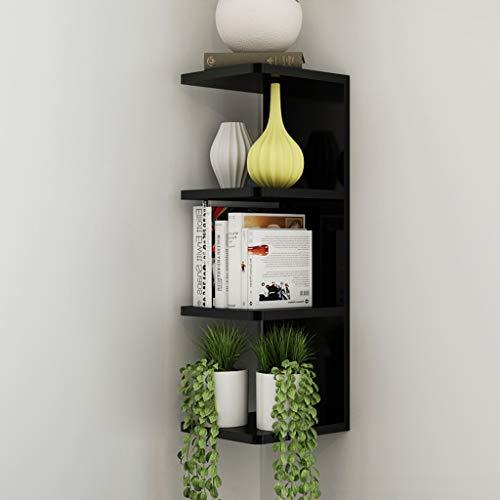 4 niveaux flottant étagères mur rangement organisateur unité diviseur affichage étagère décor à la maison pour chambre à coucher, salon, salle de bains, cuisine, bureau (Couleur : NOIR)