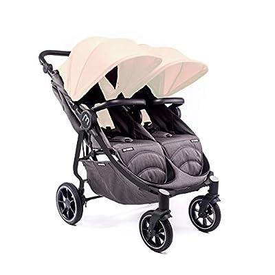 Silla Gemelar Easy Twin 4 Chasis Negro Baby Monsters Plástico de Lluvia y Barras Frontales incluidas Color Marfil