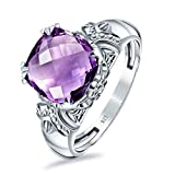 Orchid Jewelry Amethyst Rings For Women | 925 Sterling Silver Natural Purple Solitaire Ring February Birthstone | Fashion Jewellery Cute Bridal Sets | Presents For Her | Cushion Shape 3.80 Ct