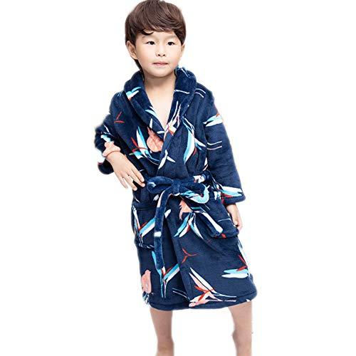 Kinderen Badjas, Boys Thicken Flanel badjas Coral Velvet Toweling Robe voor Babys Jongens Meisjes,Black,S