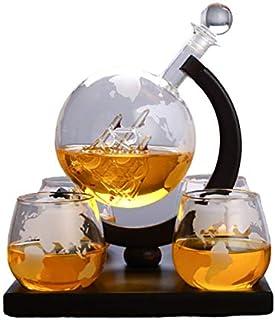 HELOVS Geätzte Weltkarte Karaffe Brandy Whiskey Globus Set mit 4 geätzten Whiskygläsern – für Likör, Scotch, Bourbon, Wodka – 850 ml kreatives Weinset, tolles Geschenk
