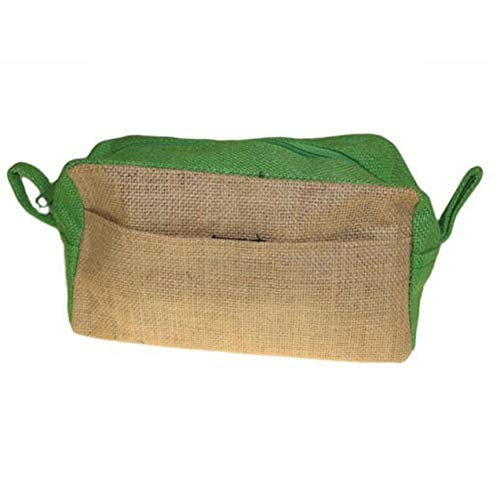 Natural Jute Toiletries Toiletry makeup travel Bag pouch (Natural & Green) - Eco Friendly