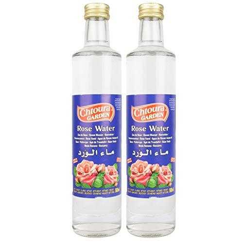 Chtoura Garden - Orientalisches Rosenwasser ideal zum Backen und Kochen - Blütenwasser zur Aromatisierung von Süßspeisen, Backwaren und Getränken im 2er Set á 500 ml Glasflasche