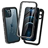 Waterproof Case for iPhone 12 Pro 6.1 inch 2020, Full-Body Rugged Clear Case with Built-in Screen Protector Heavy Duty IP68 Waterproof Shockproof Case for iPhone 12 Pro 6.1 inch 2020 (Black+Clear)