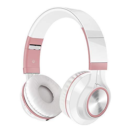 Drahtloses Bluetooth-Stereo-Headset mit faltbaren Kopfhörern und SD/TF-Karte für Mikrofone(, Roségold)