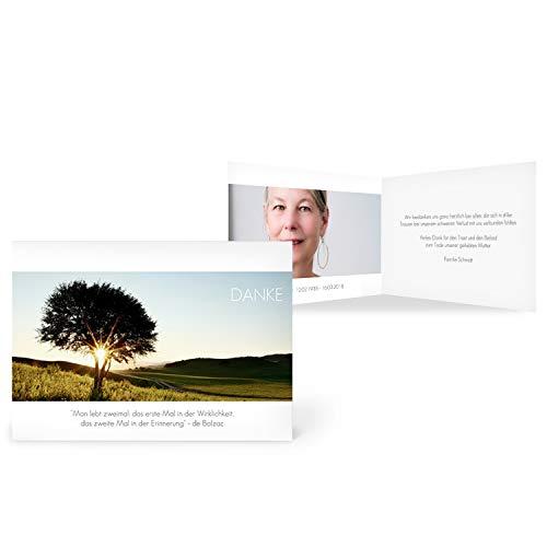 greetinks 60 x Trauer Danksagungskarten 'Sonnenuntergang' in Weiß | Personalisierte Karten zur Trauer zum selbst gestalten | 60 Stück Dankeskarten