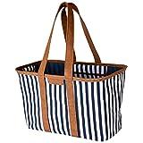 CleverMade SnapBasket Luxus Einkaufstasche, 30 l, wiederverwendbar, faltbar, strapazierfähig, groß, strukturiert, Marineblau gestreift