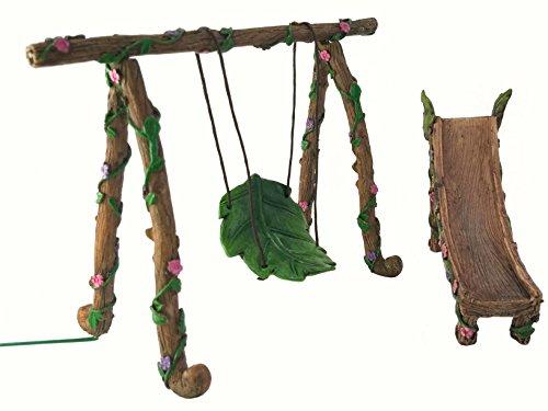 GlitZGlam Fee und GNOME Miniatur Schaukel und Rutsche Set - EIN Feengarten Accessoire - A Fairy Garden Accessory