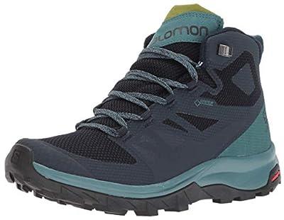 Salomon Women's OUTline Mid GTX W Hiking Boots, Navy Blazer/Hydro./Guacamole, 7