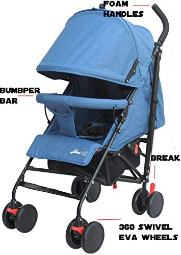 Buggy Stroller Travel Buggy Summer Blue Lightweight Pushchair for Kids Little Bambino ✨Extendable upf 50+ sun canopy and built-in sun visor ✨EASY USAGE - One-hand foldable buggy makes taking your baby for travels or walks a simple pleasure. It could stand on its own so you could take care of your baby with less things to worry about. ✨ADJUSTABLE BACKREST - Travel stroller backrest can be adjusted in sitting or reclining mode, also the footrest could be adjusted for baby need. Suitable for children from 0 to 36 months 4