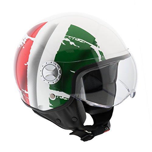 Bricok Casco Moto Scooter Motorino Moto Cross, Omologato ECE R22-05, Casco in ABS e Policarbonato con Visiera Antigraffio, (Italia, L)