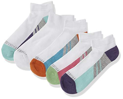 Fruit of the Loom Big Girls' 6 Pack Low Cut Socks, Multi, Shoe: 4-10