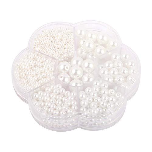 1150 perline bianche rotonde di raso di perle distanziatrici rotonde, colore beige, dimensioni miste, per fai da te, collane, bracciali, orecchini, anelli, creazione di gioielli (3/4/5/6/8/10/12 mm)