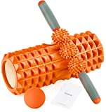 HBselect 3 en 1 Rouleau Mousse Rouleau de Massage Rouleau en Mousse Parfait pour Gym et Yoga,Rouleau en Mousse pour Massage Profond des Tissus Musculaires pour Les Jambes du Dos,Orange