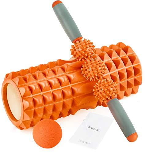 HBselect Faszienrolle 3in1 Set Wirbelsäule Foam Roller Massagerollen Duoball Massagestäbchen Massageball (orange A)