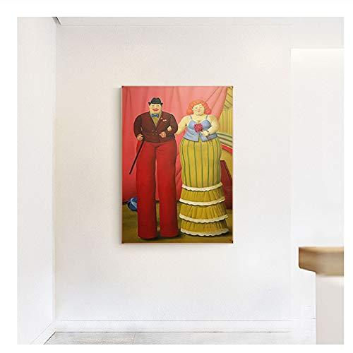 nr Fernando botero Stelzenläufer Clown Leinwand Malerei abstrakte Poster drucken Bunte Wandkunst Bilder für Wohnzimmer Gang Modern-60x80cm kein Rahmen