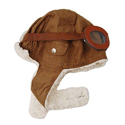 Veroda elástico del bebé de los niños del aviador del piloto Casco Beanie sombrero caliente del casquillo (Marrón)