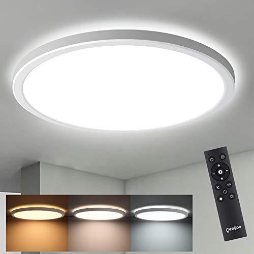 LED Deckenleuchte Dimmbar Ultraslim 2.5cm, Oeegoo LED Decklampe Dimmbar mit Fernbedienung, 24W 2000LM LED Leuchte Hintergrundlicht, Kinderzimmerlampe, Farblicht 3000-6500k, Heiligkeit 10%-100%