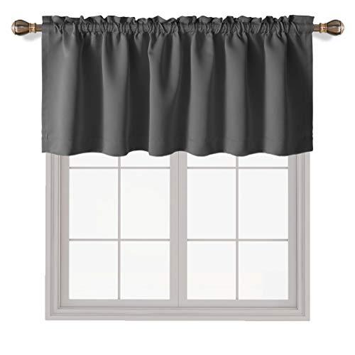 LORDTEX Dark Grey Valances for Windows - Thermal Insulated Room Darkening Kitchen Curtain Valances Rod Pocket Bathroom Valances for Living Room Bedroom Cafe, 1 Panel, 42 x 18 Inch