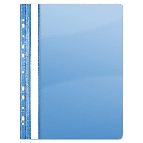 DONAU 1704001PL-10 Plastik Schnellhefter Gelocht A4 Blau, Sichthefter Kunststoff Strapazierfähigem PVC Hart Glasklares Deckblatt Klemmmappe für Büro und Schule, Eurolochung | 10er Pack
