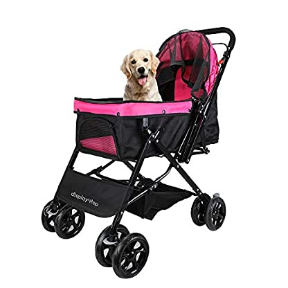 Display4top Pink Pet Travel Stroller, Foldable Four-Wheeled Trolley Suspension Commutation Cat and Dog Cart Large Travel Supplies Travel Goods Gear 3