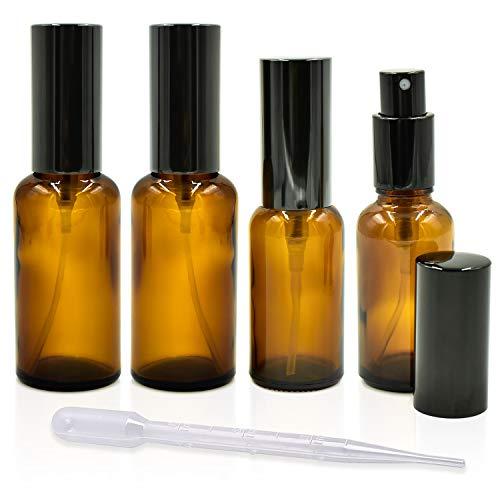 cococity 4 Pcs 30ml 50ml Flacon Vaporisateur Ambre, Brume Spray Bouteille en Verre Vide Fine Réutilisable pour Huiles Essentielles, Parfum, Pharmacie, Aromathérapie