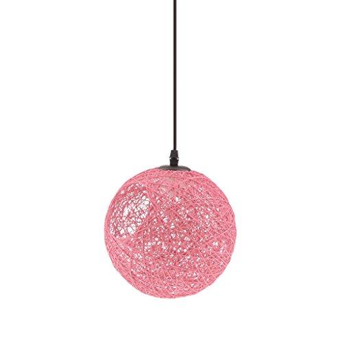 Lámpara de Araña Luz de Techo Forma Globo Colgante con Cuerda de Ratán Decoración para Sala de Estar Hotel Corredor Pasillo - rosado