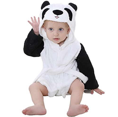 STOFIA Albornoz Niños 100% Algodon - Toalla Bebe Recien Nacido 1-12 Meses Bata Niño Casa Ducha Poncho Capa Regalos Para Bebes (Panda Blanco)