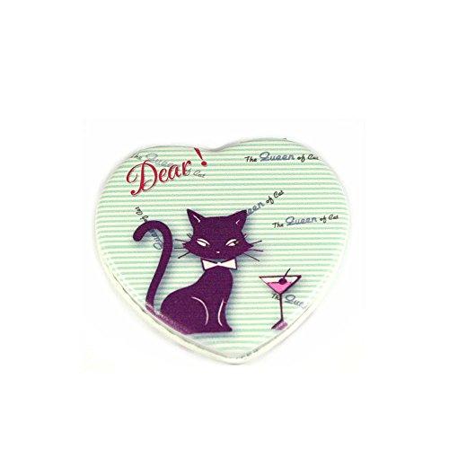Taschenspiegel in Herzform mit schwarzer Katze und Martini-Glas, grün-weiß gestreift