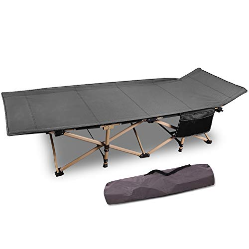 CAMPMOON Folding Camping Cots for Adults 500lbs, Heavy Duty Sturdy Portable Sleeping Cot for Camping Outdoor & Indoor, Travel Cot with Carry Bag, Gray