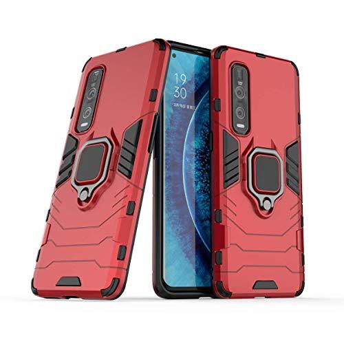 MRSTER Oppo Find X2 Pro Hülle 360 Grad Drehbar Ringhalter Cover TPU Handyhülle 2 In 1 Plastic Silicone Hülle Heavy Duty Schutz Hybrid Stoßfest Schutzhülle für Oppo Find X2 Pro 5G. HB Red
