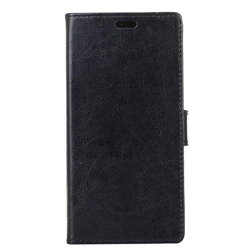 jbTec Handy Hülle Case - Schutz Tasche Smartphone Flip Cover Phone Bag Klapp Klappbar Etui Handyhülle Handytasche Book, Farbe:Schwarz, passend für:BQ Aquaris V/VS