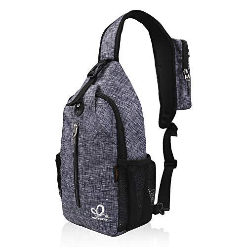 Waterfly Sling Bag Rucksack, Schultertasche, Umhängetasche, Brusttasche, zum Wandern, als lockerer Daypack für Männer und Frauen, grau meliert