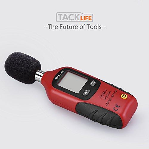 Schallpegelmessgerät, Tacklife SLM01 Klassischer Schallpegelmesser, Lärm Messgerät Datenspeicherfunktion Abschaltautomatik 40~130 dB Rot, LCD-Anzeige, Hintergrundbeleuchtung - 8