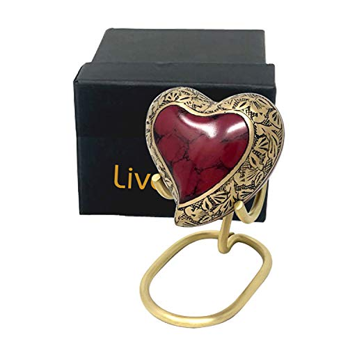 Crimson Marble Heart Shaped Urn