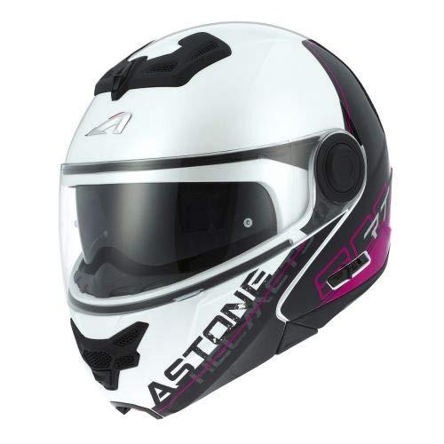 Astone Helmets - RT800 graphic exclusive LINETEK- Casque de moto modulable - Casque de moto 2 en 1 - Casque polyvalent route et ville - Casque en polycarbonate - pink/white XS
