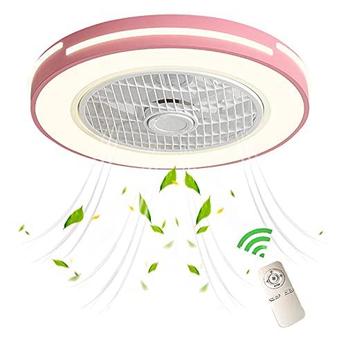 VOMI Lámparas Luz LED Regulable Con Mando A Distancia Ventilador De Techo Con Lámpara Niñas Habitación Ventiladores Techo Con Luces Ultra-Silencio Moderno Creativo Invisible Fan 3 Velocidades