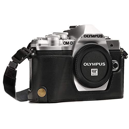 MegaGear MG969 Olympus OM-D E-M10 Mark II, E-M10 (14-42mm) Ever Ready Leder Kamera Halbtasche mit Trageriemen - Schwarz